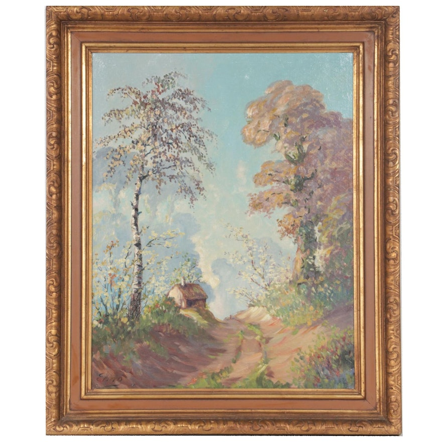 Oil Painting of Rural Path with Cottage, Mid to Late 20th Century
