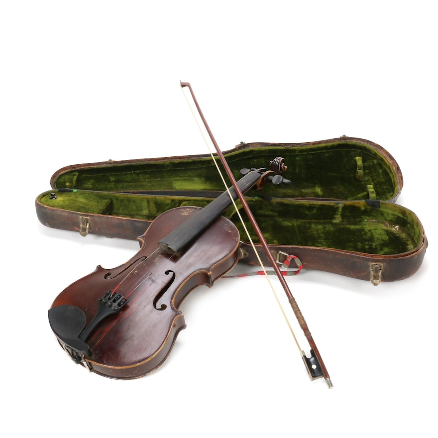 Joseph Guarnerius Copy Violin with Bow and Case