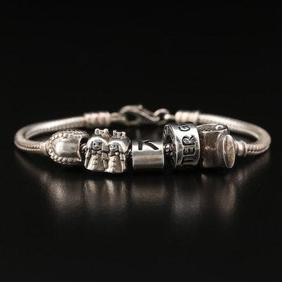 "Sterling Silver Charm Bracelet Including ""Granddaughter"" Charm"