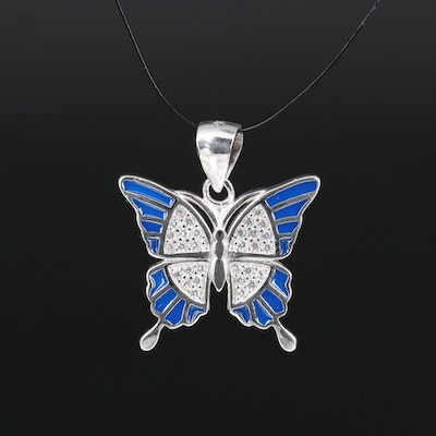 Sterling Silver Cubic Zirconia and Enamel Butterfly Pendant