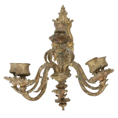 Victorian Cast Spelter Five-Arm Candle Wall Sconce, Late 19th/ Early 20th C.