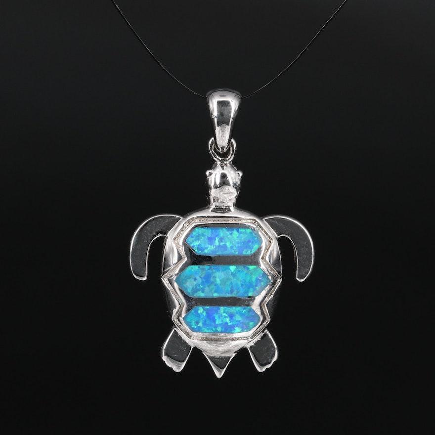 Sterling Silver Opal Turtle Pendant