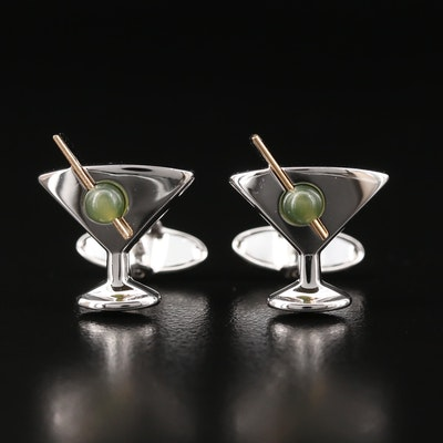 Dolan-Bullock Sterling Martini Cufflinks with Nephrite Olive and 14K Accent