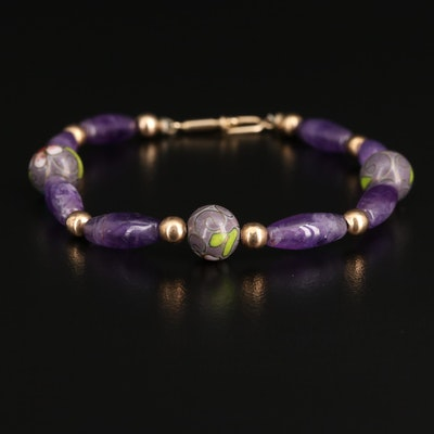 14K Amethyst and Cloisonné Enamel Beaded Bracelet