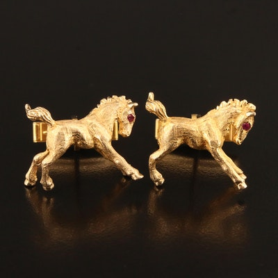 14K Horse Cufflinks with Ruby Eyes