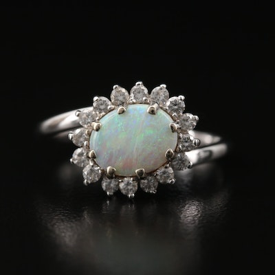 14K Opal and Diamond Bypass Ring