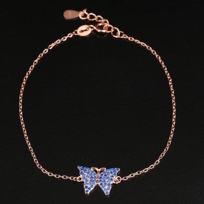 Sterling Silver Spinel Butterfly Bracelet