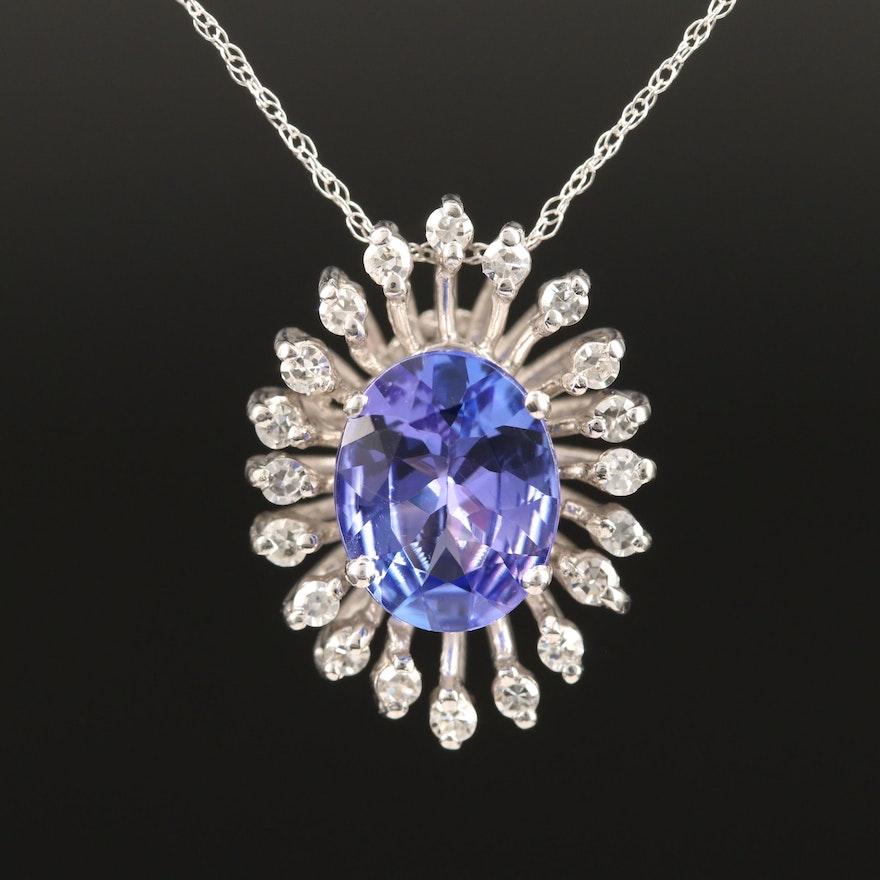 14K Tanzanite and Diamond Spray Halo Pendant Necklace