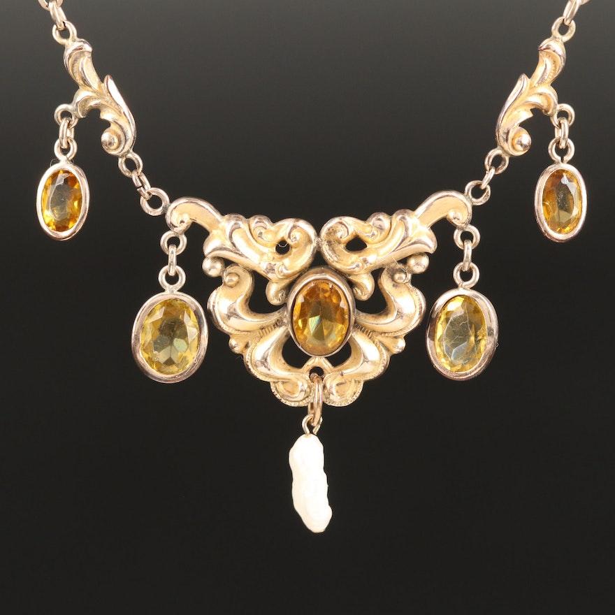 Art Nouveau Glass and Pearl Necklace