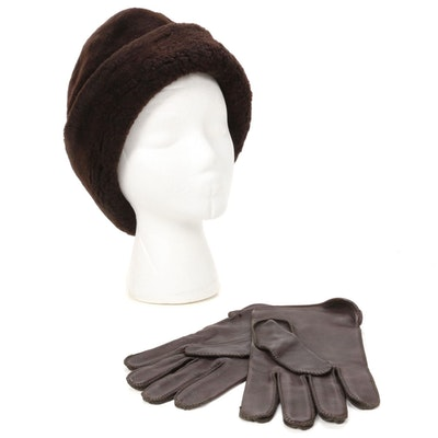 North King Brown Dyed Mouton Fur Hat with Fownes Brown Leather Gloves