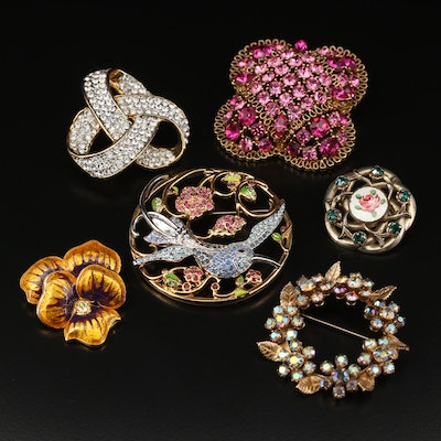 Rhinestone and Enamel Brooches Featuring Metropolitan Museum of Art