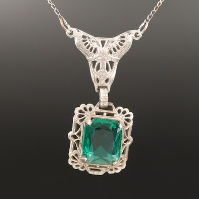 Art Deco Sterling Glass Necklace