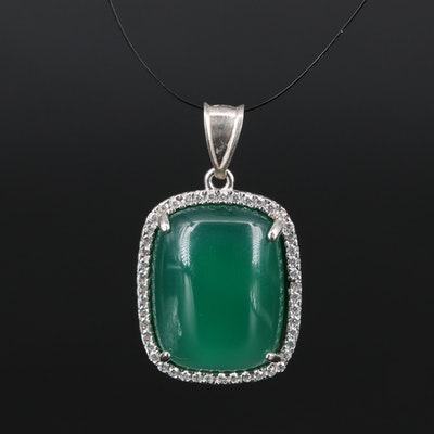 Sterling Silver Chalcedony and Cubic Zirconia Pendant