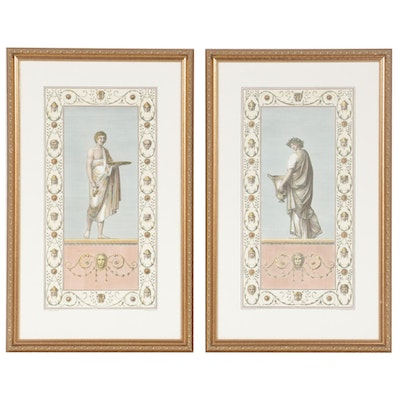 Hand-Colored Lithographs after Franc. Smagliewicz of Neo-Classical Figures