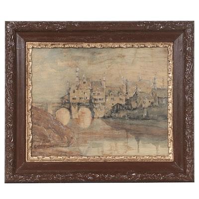 """Mixed Media Painting of Cityscape """"Chagny"""""""