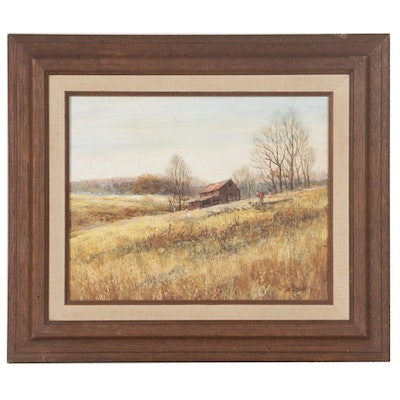 Richard Collopy Oil Painting of Rural Landscape with Hunter and Dog