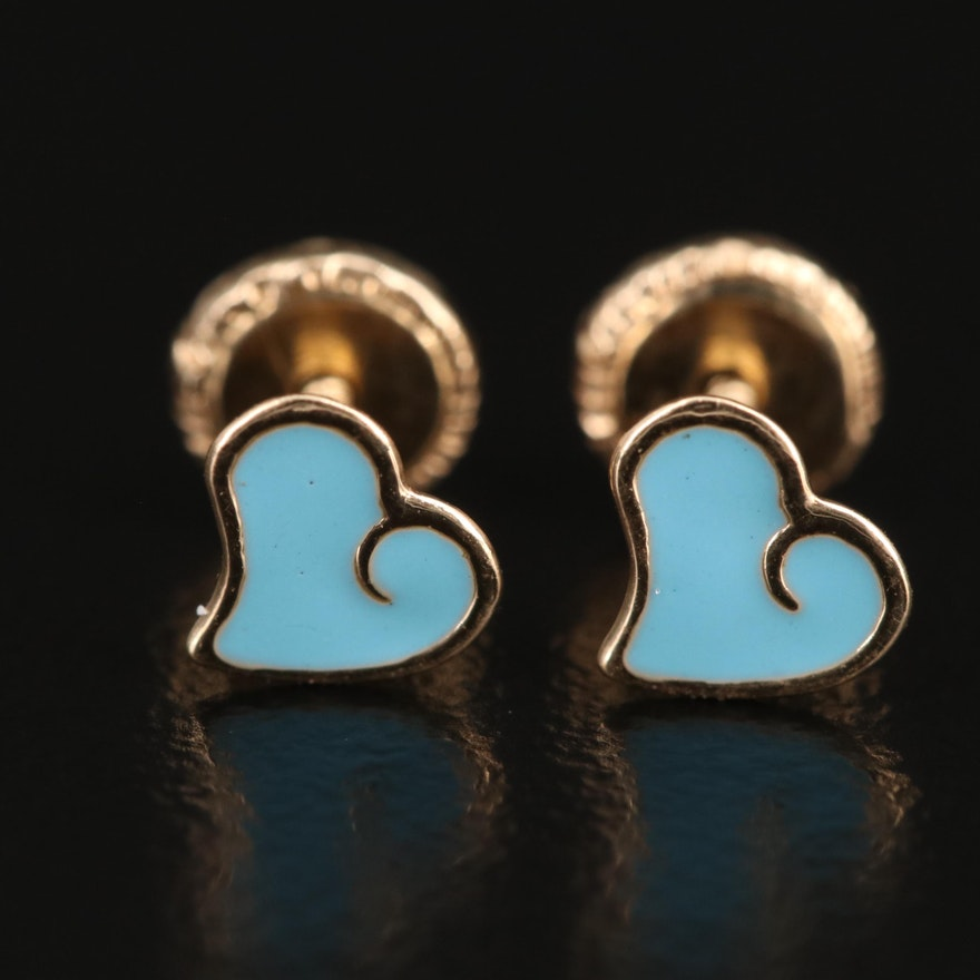 14K Enamel Heart Child's Stud Earrings