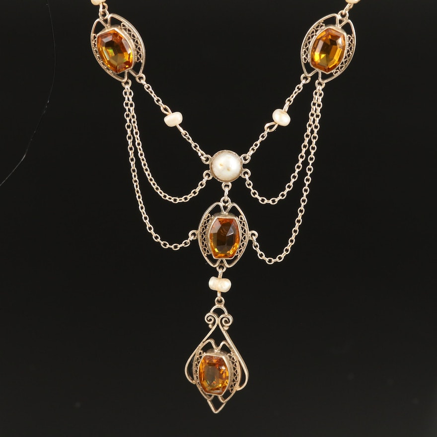 Early 1900s Sterling Pearl and Glass Feston Necklace