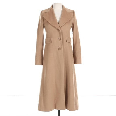 Max Mara Studio Beige Wool Three-Button Coat with Notched Wide Collar