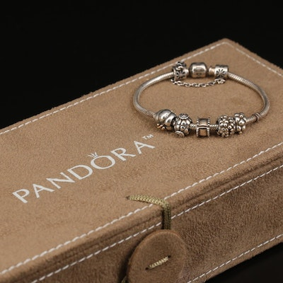 Pandora Sterling Bracelet and Charms Featuring Cubic Zirconia and Organizer Box