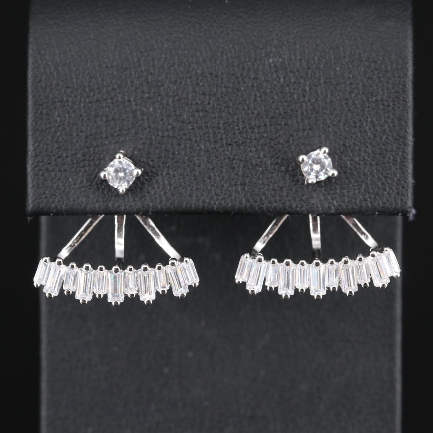 Sterling Silver Cubic Zirconia Stud Earrings with Enhancers