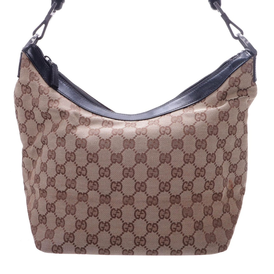 Gucci Bamboo Handle Hobo Bag in GG Canvas with Leather Trim