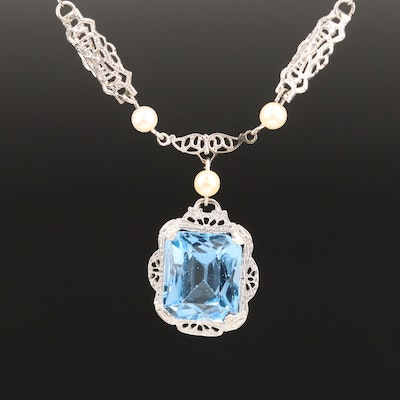 Art Deco 10K Spinel and Pearl Necklace