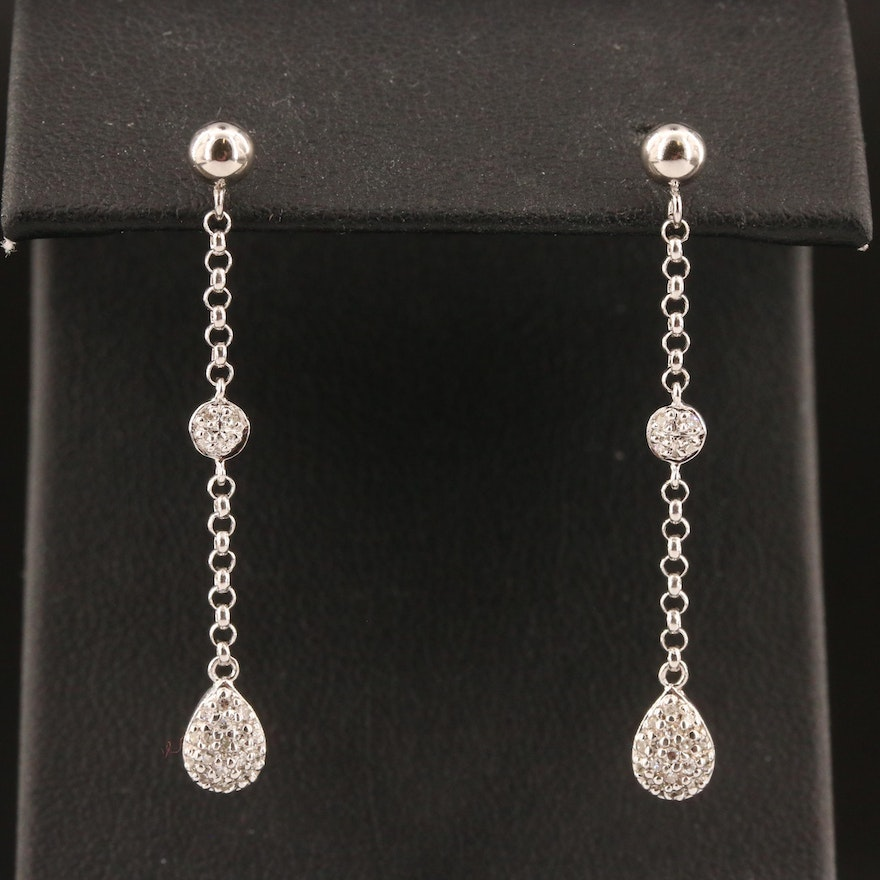 14K Pavé Diamond Drop Earrings