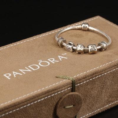 Pandora Bracelet with Cubic Zirconia Charms and Pandora Organizer Box