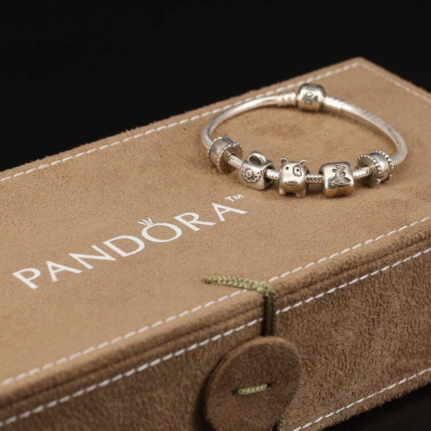 Pandora Bracelet with Cubic Zirconia Charms and Pandora Organizer Box