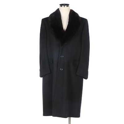 Men's Hart Schaffner & Marx Cashmere Coat in Navy with Sheared Beaver Collar