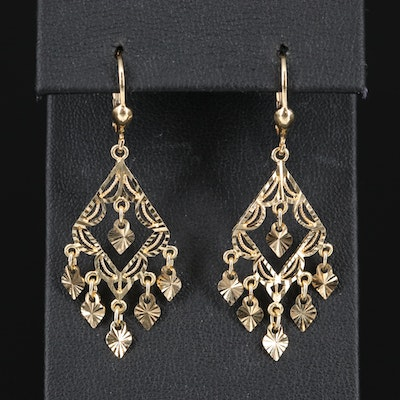 14K Diamond Cut Dangle Earrings