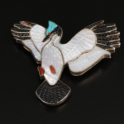 Signed Sterling Mother of Pearl, Coral and Turquoise Bird Converter Brooch