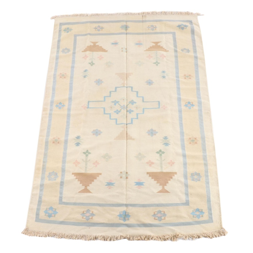 5'9 x 8'11 Handwoven Floral Wool Rug