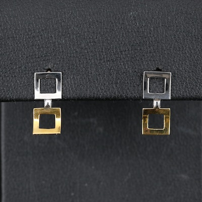18K Two-Tone Double Square Drop Earrings
