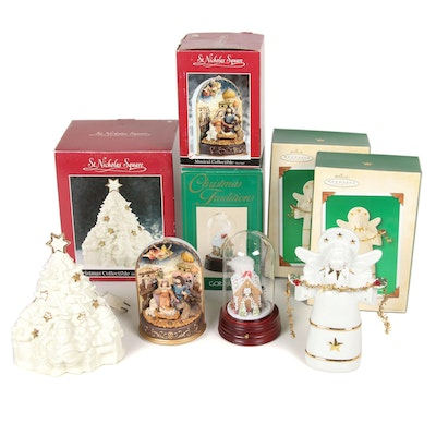 St. Nicholas Square, Gorham and Hallmark Christmas Decorations and Music Boxes