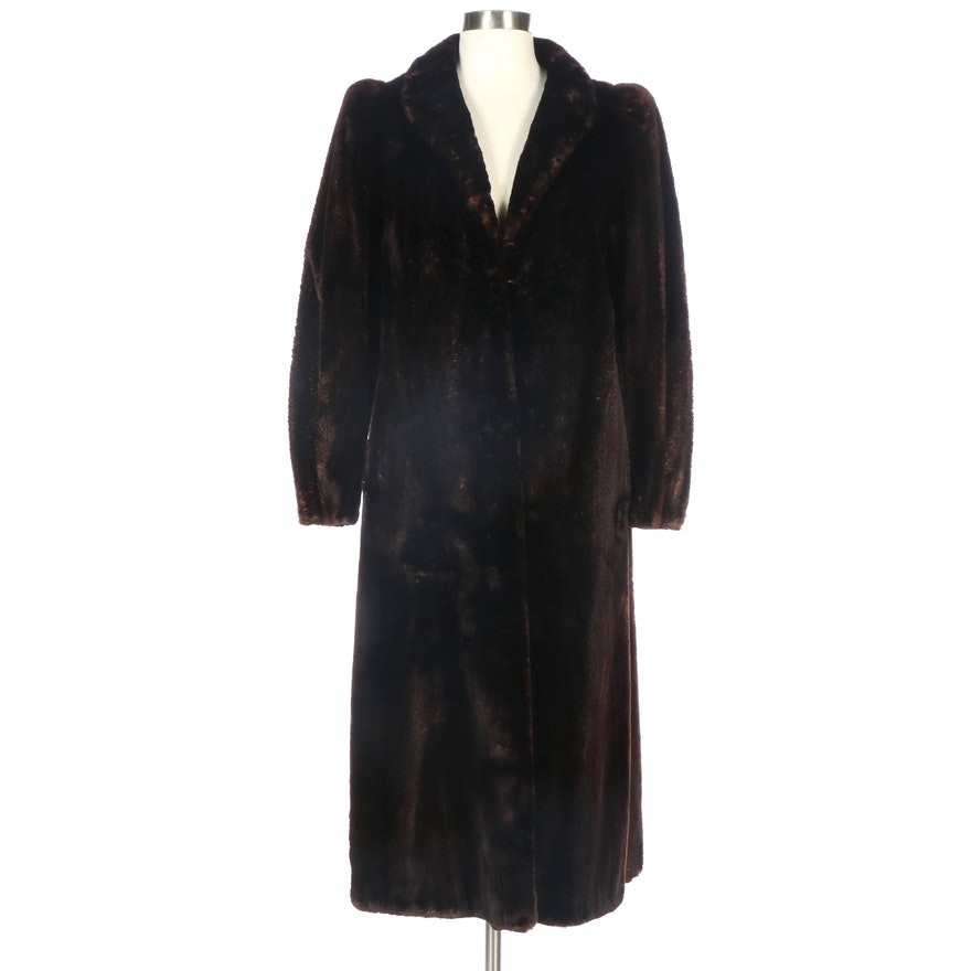 Thomas E. McElroy Sheared Beaver Fur Coat with Tapered Cuffs