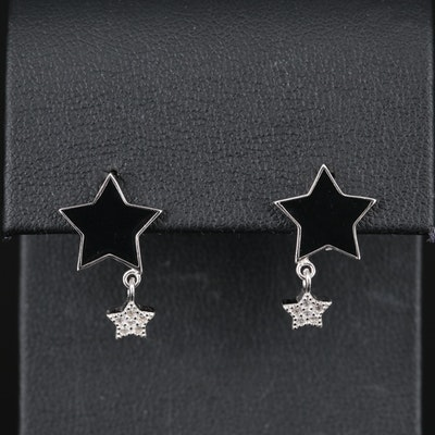 Sterling Silver Cubic Zirconia and Enamel Star Drop Earrings