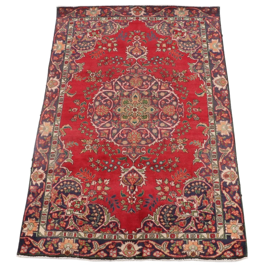 6'4 x 9'11 Hand-Knotted Persian Tabriz Wool Rug