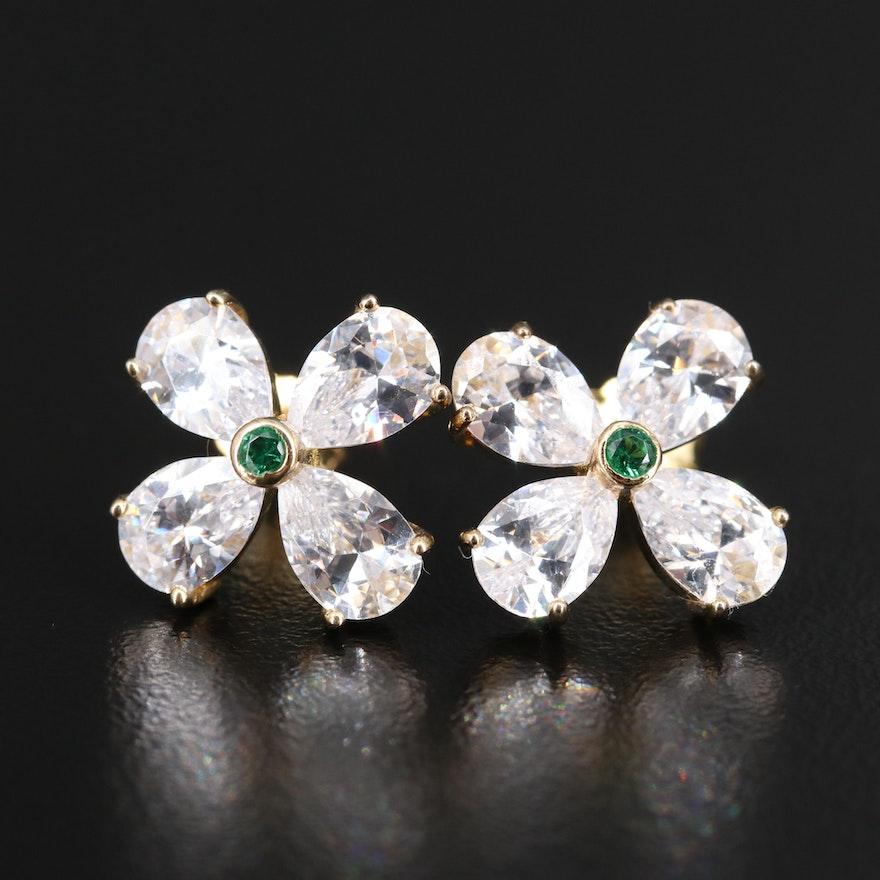 Sterling Silver Cubic Zirconia Flower Button Earrings