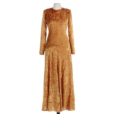 Flocked Velour Floor-Length Evening Dress in Golden Saffron