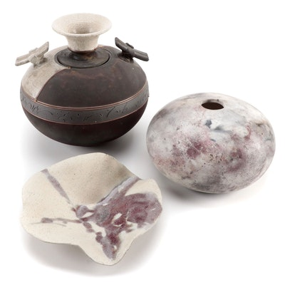 Mari Raku Pottery Vase with Other Pottery Vessel and Bowl