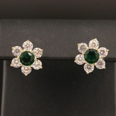 Sterling Silver Glass and Cubic Zirconia Flower Motif Earrings