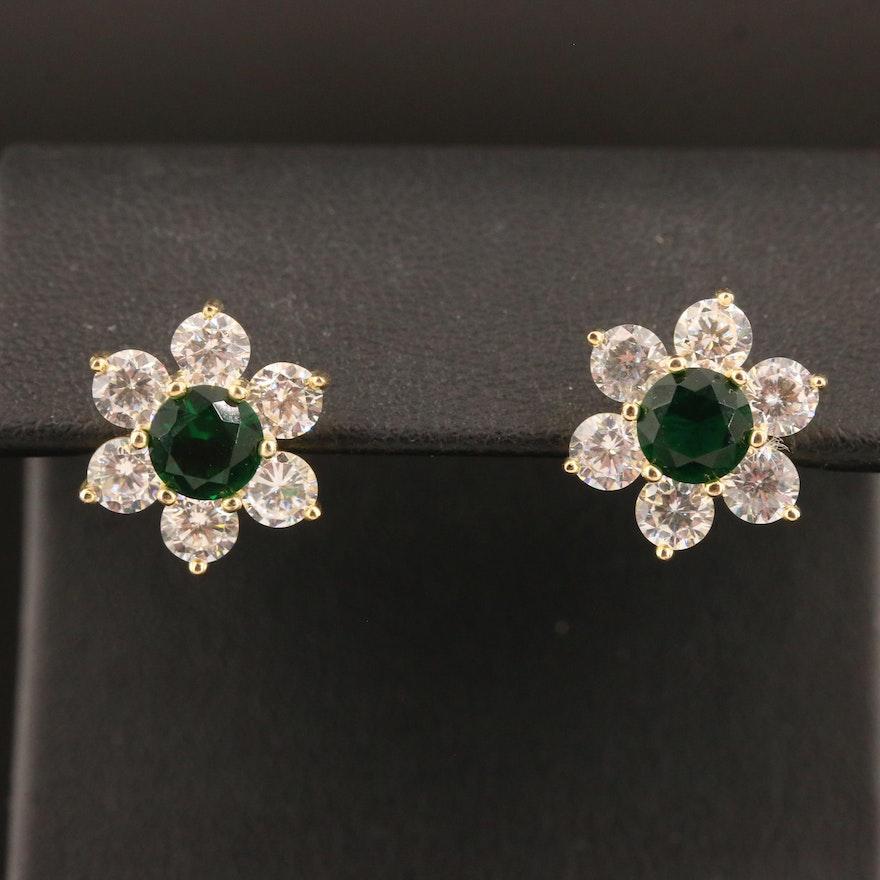 Sterling Silver Glass and Cubic Zirconia Flower Motif Earrings