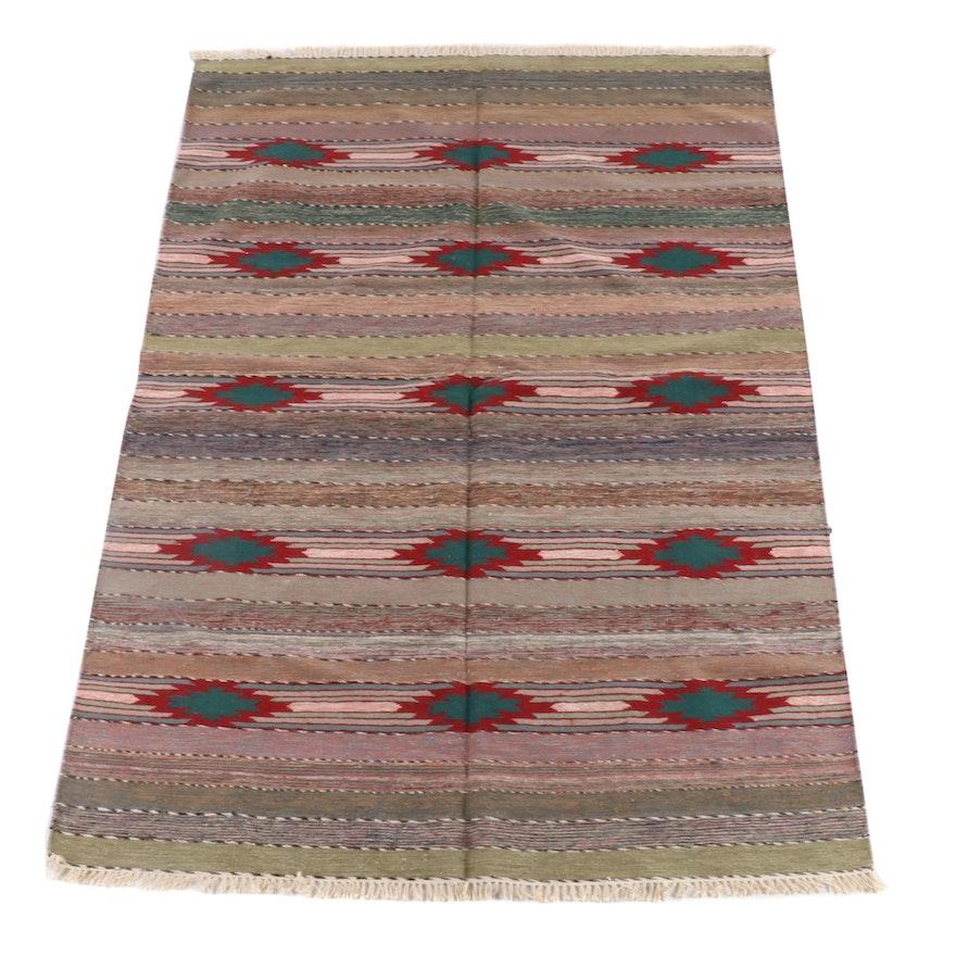 6'2 x 9'2 Handwoven Southwestern Style Wool Rug