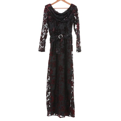 Black and Maroon Floral Flocked Belted Evening Dress with Draped Neckline