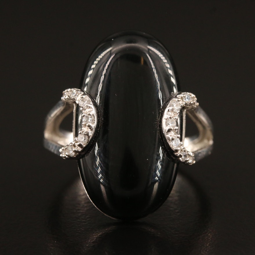 Sterling Silver Black Onyx and Cubic Zirconia Ring with Split Shoulders