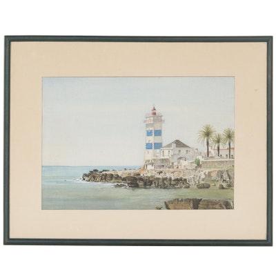 John Edward Coates Watercolor Painting of Santa Marta Lighthouse in Portugal