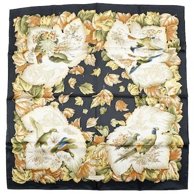 Salvatore Ferragamo Mallard, Pheasant, Quail and Foliate Patterned Silk Scarf