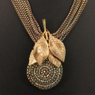 Vintage Miriam Haskell Foliate Multistrand Necklace